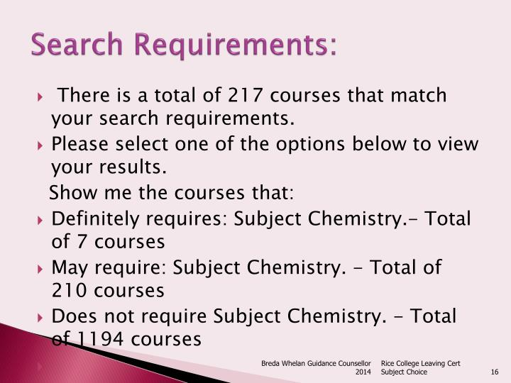 Search Requirements: