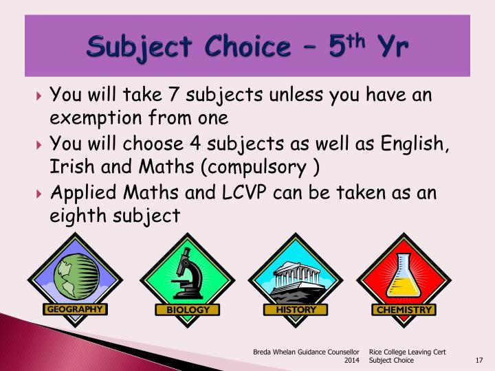 Subject Choice – 5