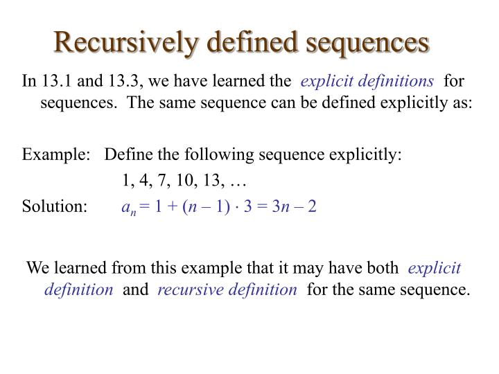 Recursively Defined Sequences