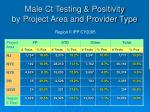 male ct testing positivity by project area and provider type
