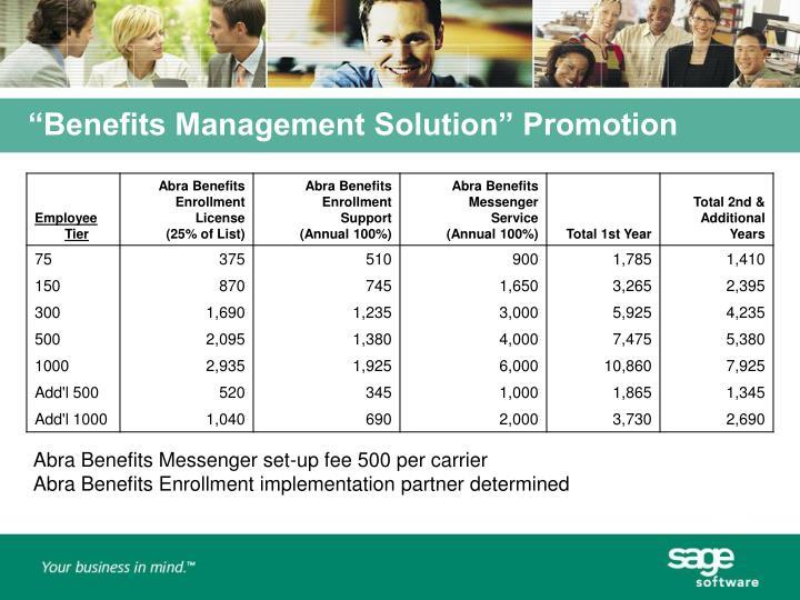 """Benefits Management Solution"" Promotion"