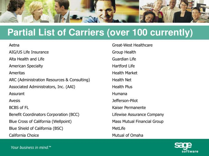 Partial List of Carriers (over 100 currently)