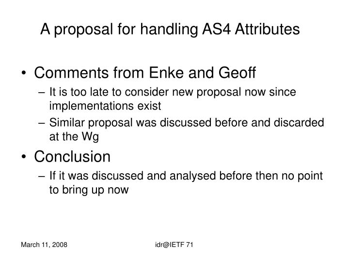 A proposal for handling AS4 Attributes