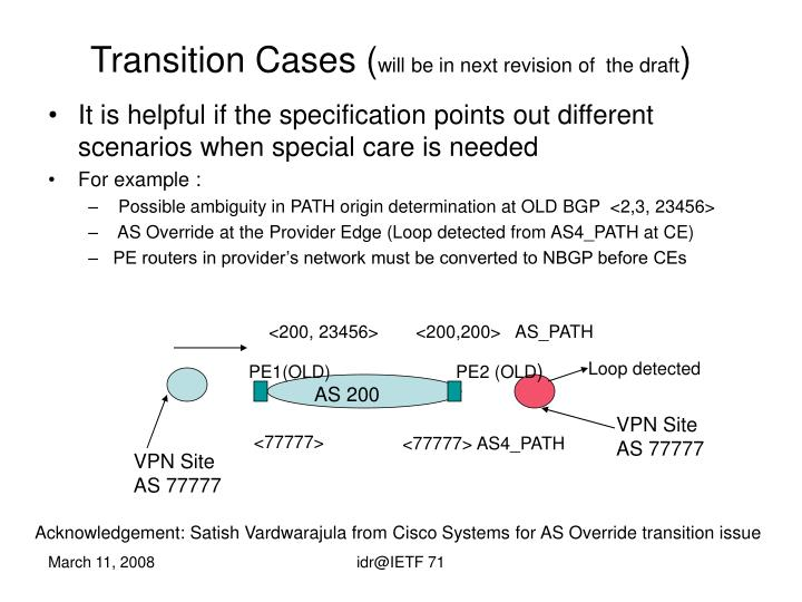 Transition Cases (
