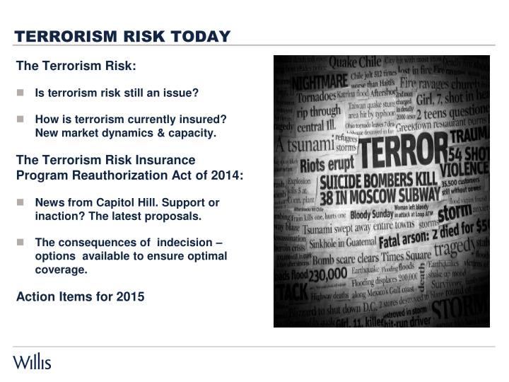 Terrorism risk today