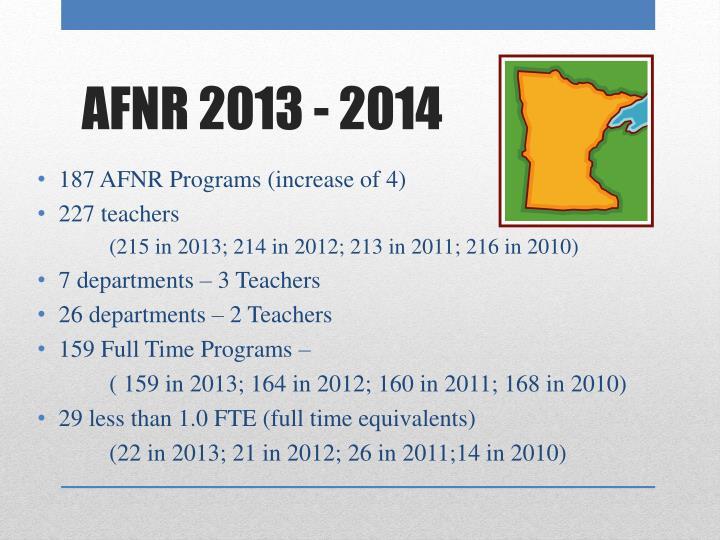 187 AFNR Programs (increase of 4)