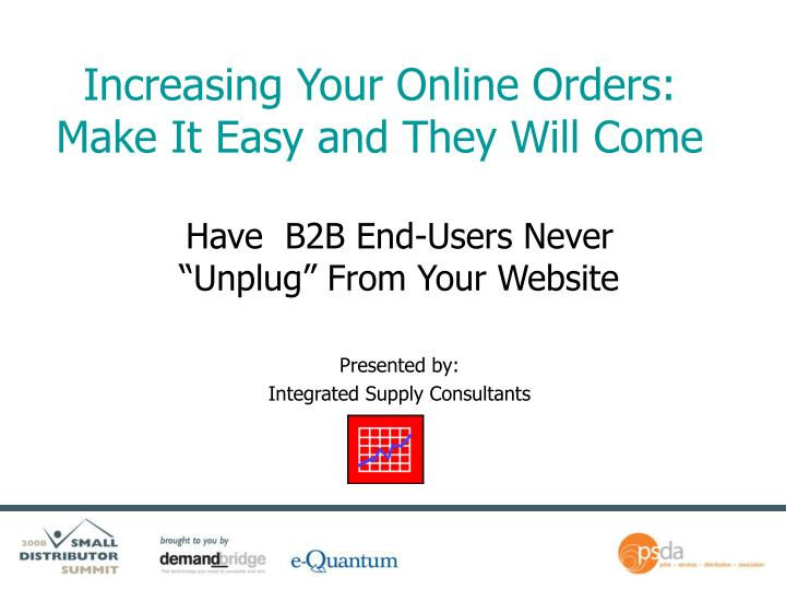 increasing your online orders make it easy and they will come n.