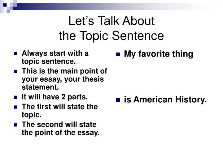 Always start with a topic sentence.