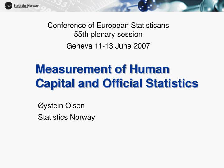 measurement of human capital and official statistics n.