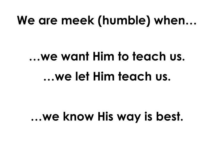 We are meek (humble) when…