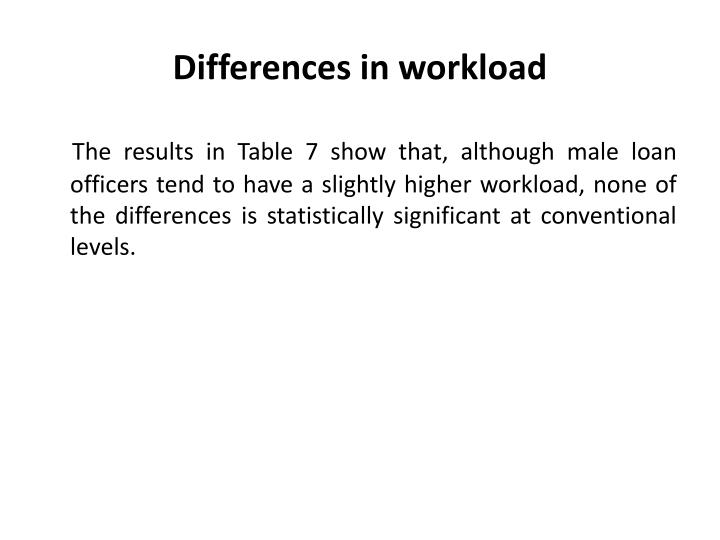 Differences in workload