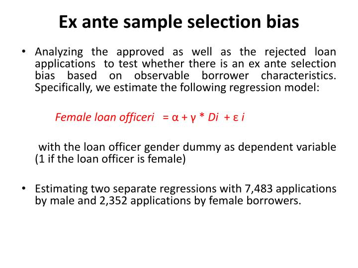 Ex ante sample selection bias