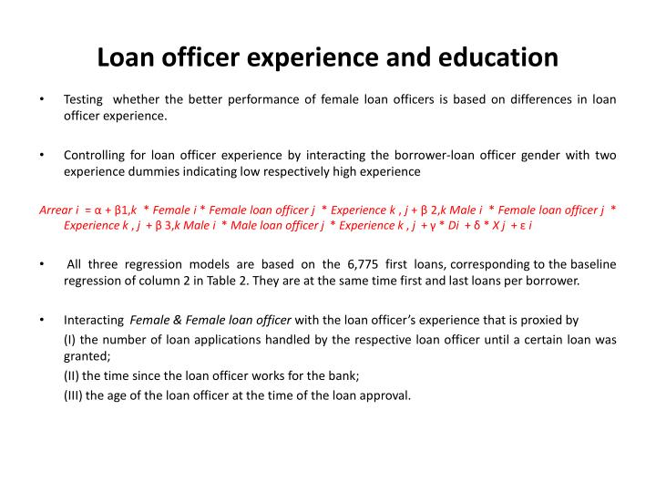 Loan officer experience and education