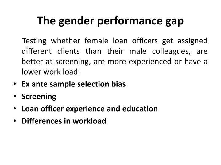 The gender performance gap