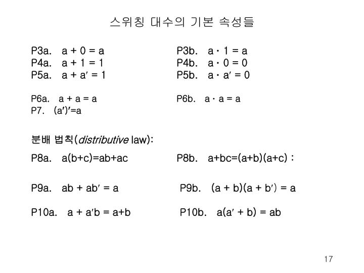 스위칭 대수의 기본 속성들