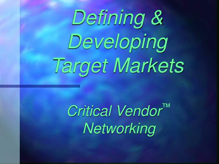 Critical vendor networking