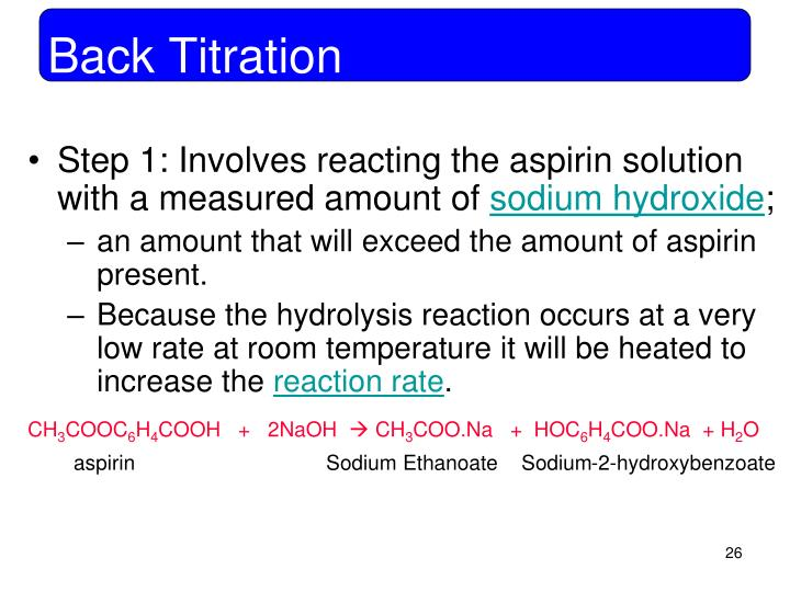 titration of aspirin with sodium hydroxide