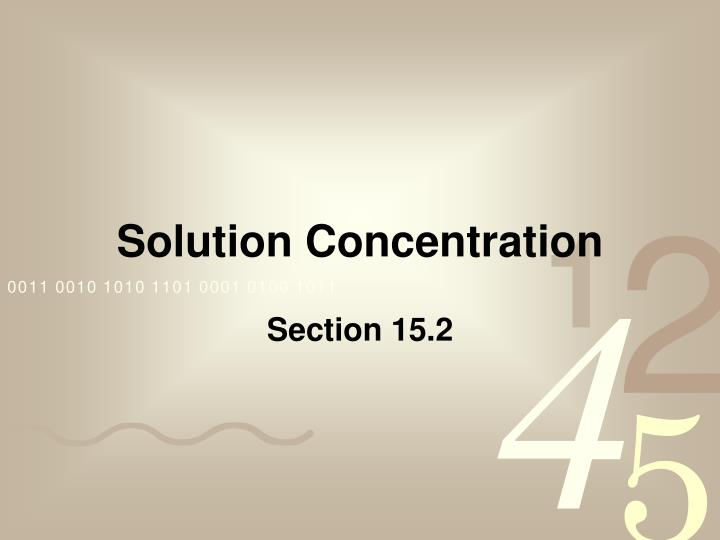 solution concentration n.