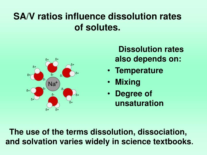 Dissolution rates also depends on: