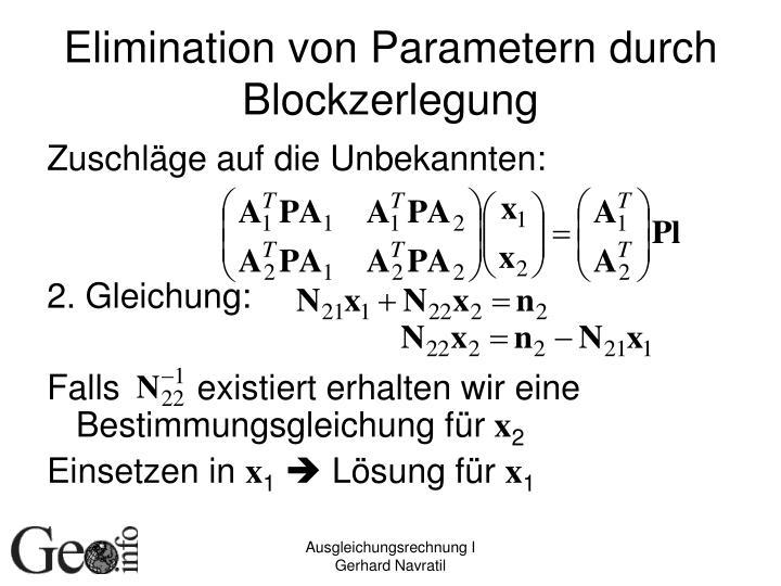 Elimination von Parametern durch Blockzerlegung
