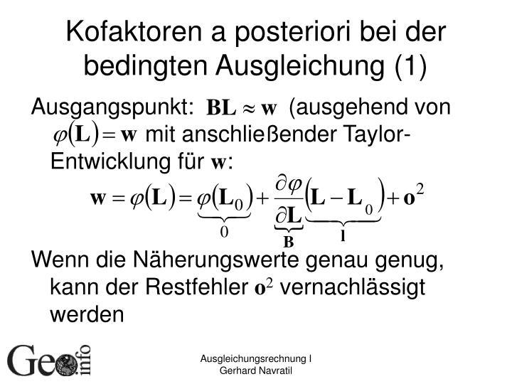 Kofaktoren a posteriori bei der bedingten Ausgleichung (1)