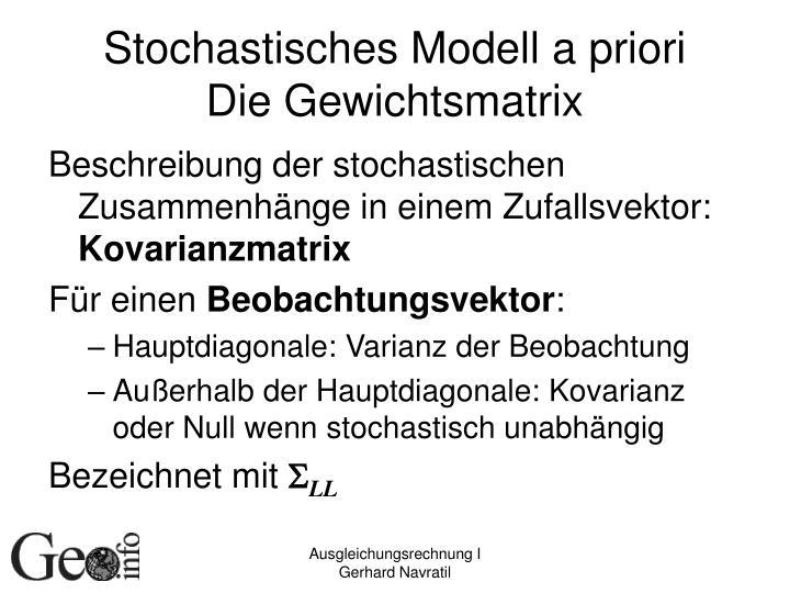 Stochastisches Modell a priori