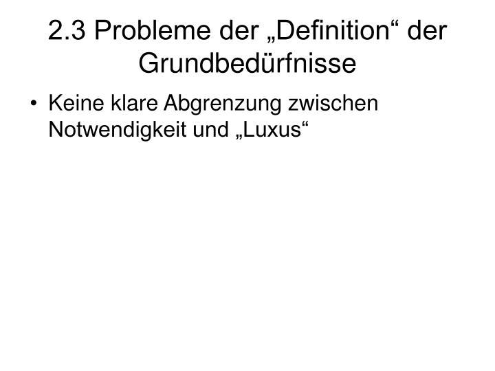 """2.3 Probleme der """"Definition"""" der Grundbedürfnisse"""