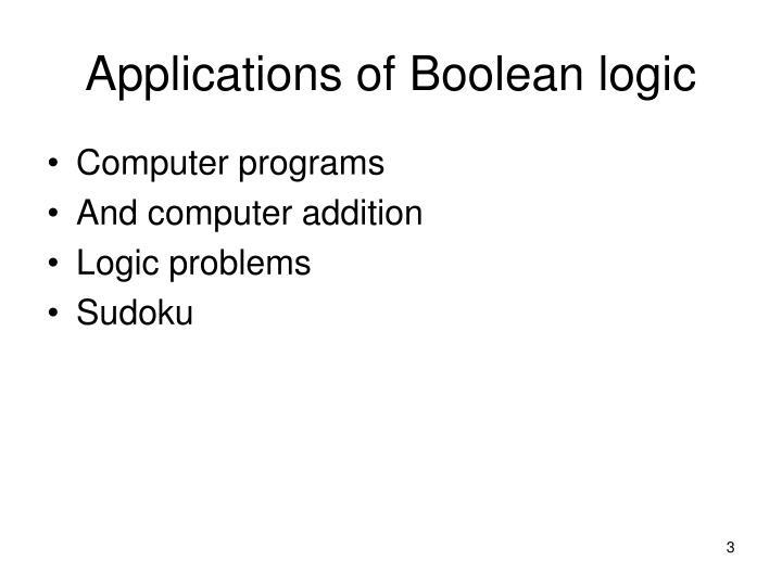 Applications of boolean logic