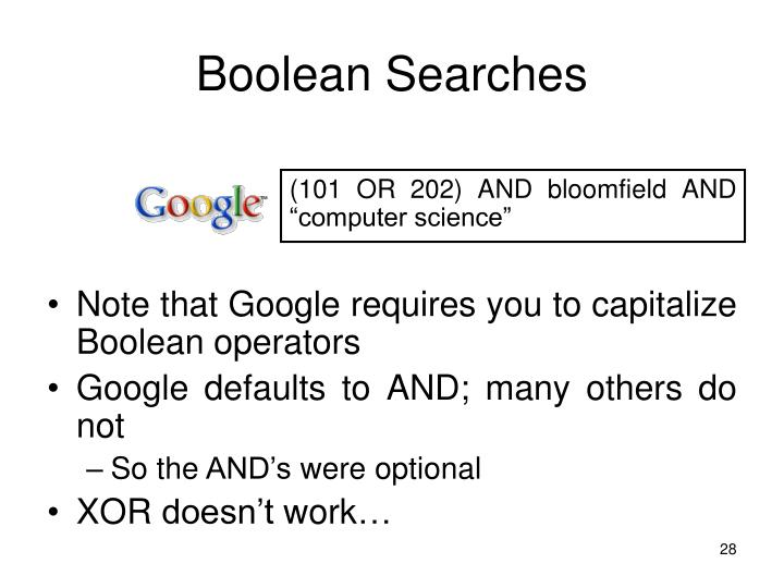 Boolean Searches