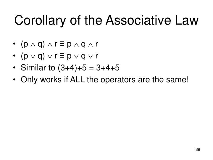 Corollary of the Associative Law