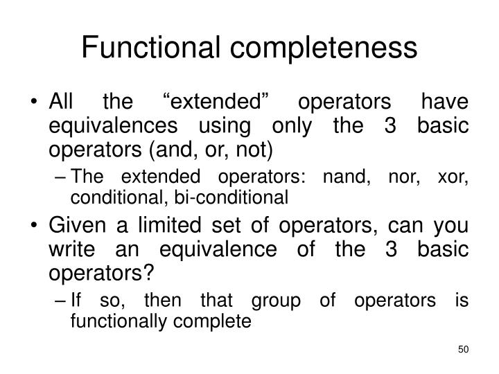 Functional completeness