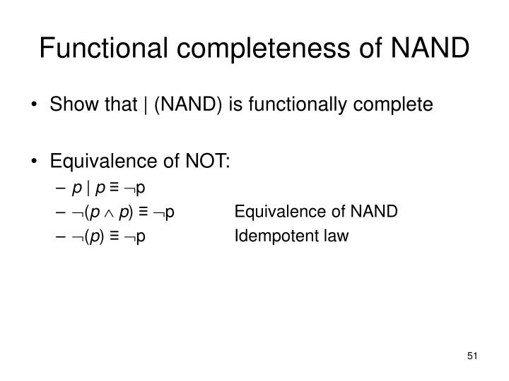 Functional completeness of NAND