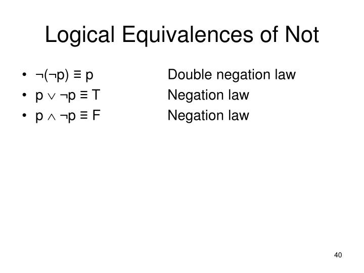 Logical Equivalences of Not