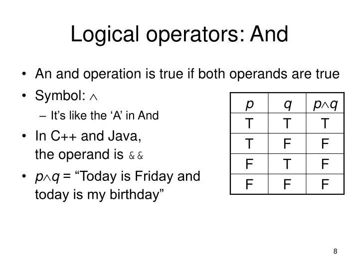 Logical operators: And