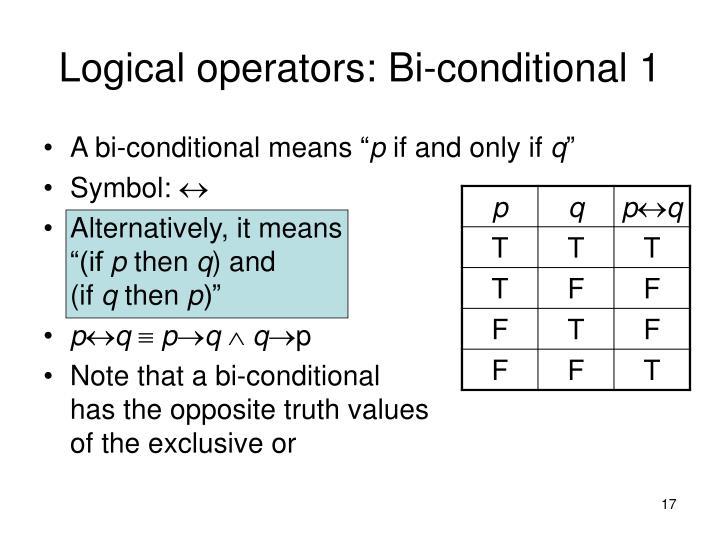 Logical operators: Bi-conditional 1
