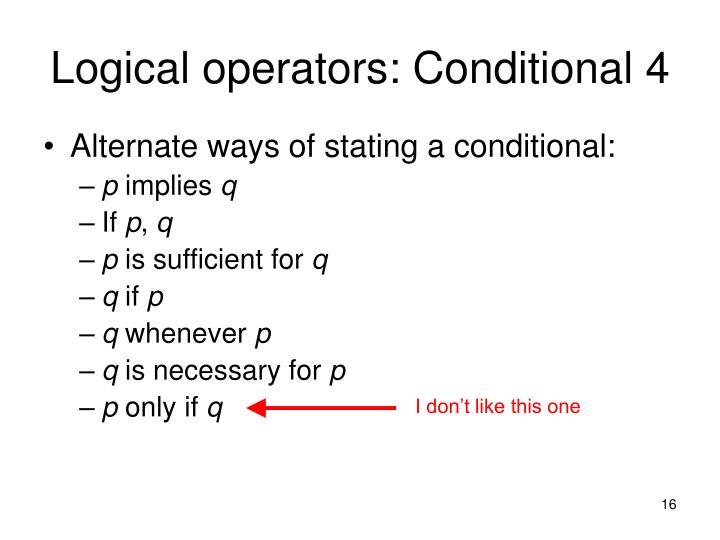 Logical operators: Conditional 4