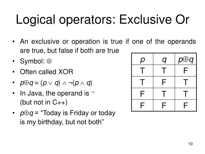 Logical operators: Exclusive Or