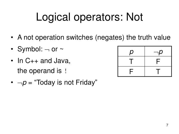Logical operators: Not