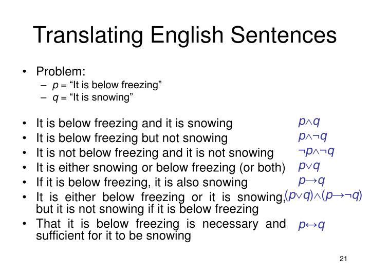 Translating English Sentences