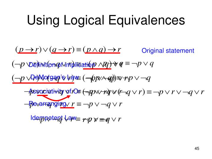Using Logical Equivalences
