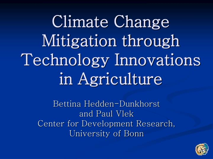 climate change mitigation through technology innovations in agriculture n.