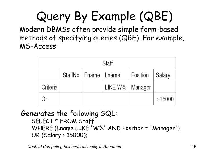 Query By Example (QBE)