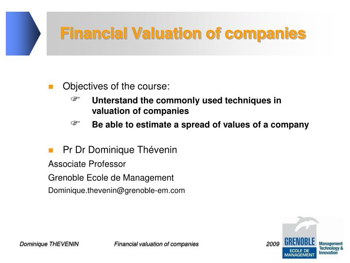 Financial valuation of companies