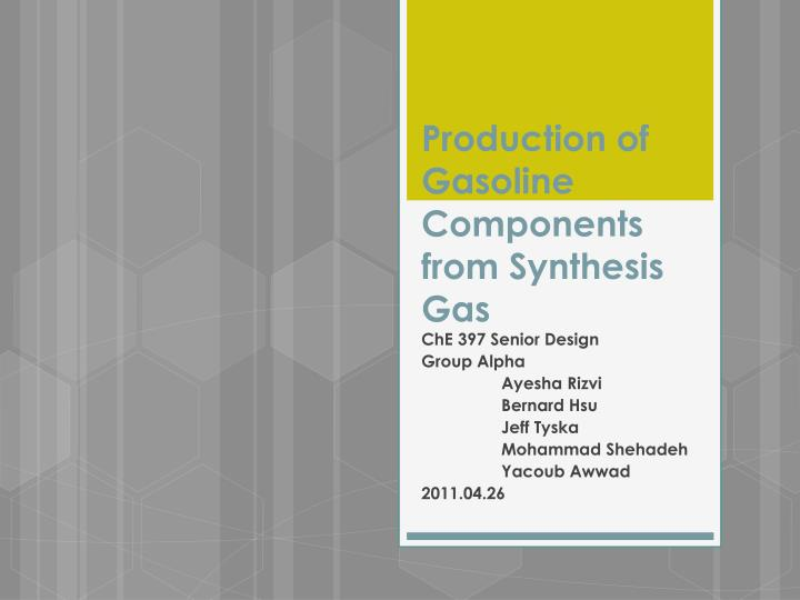 production of gasoline components from synthesis gas n.
