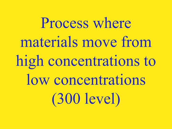 Process where materials move from high concentrations to low concentrations