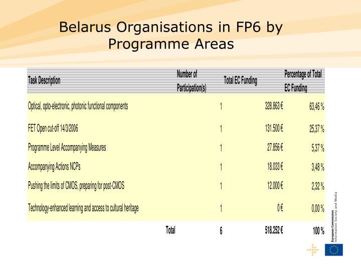 Belarus Organisations in FP6 by Programme Areas