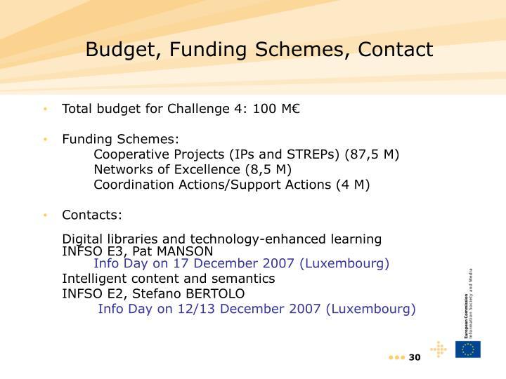 Budget, Funding Schemes, Contact