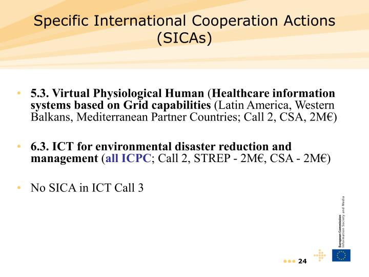 Specific International Cooperation Actions (SICAs)