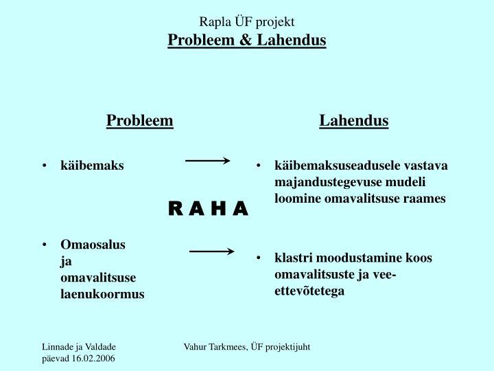 Rapla f projekt probleem lahendus