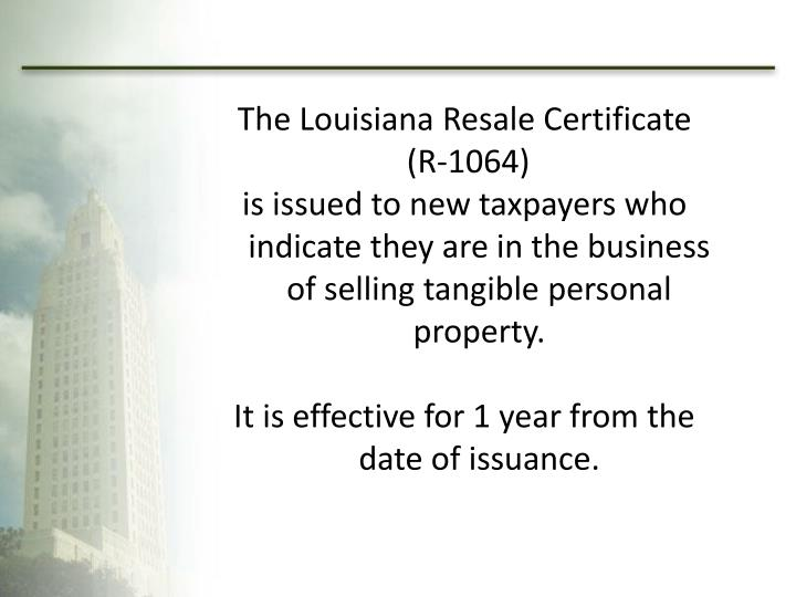 PPT - Tax Administration Division Louisiana Department of ...